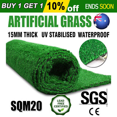 2*10M Artificial Grass Synthetic Turf Plastic Plant Fake Lawn Flooring 15MM New