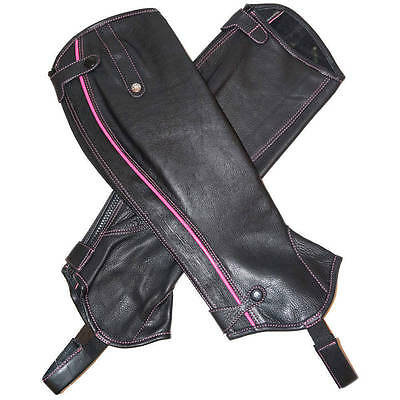 NEW Mark Todd Patent Piped Leather Half Chaps - Horse Riding - Black & Pink