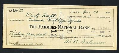 USA Promissory Note 1920 for $1300 with 26c US Internal revenue stamps affixed