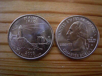 """2003d  usa state  quarter """"maine"""" dollar coin collectable"""