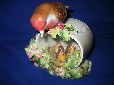 "Royal Adderley Bone China Floral  ""robin And Young""  Figure"