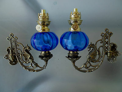 Excellent Quality Blue Crystal Glass Wall Sconce Oil Lamps.