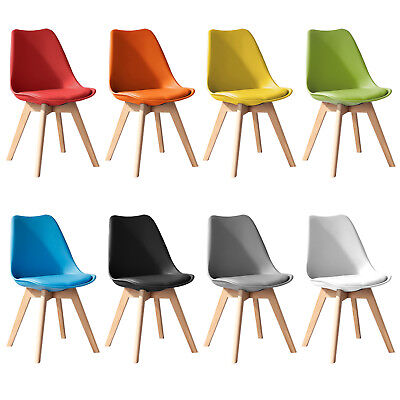 Jamie Dining Tulip Chair - Eiffel Inspired - Solid Wood - Plastic - Padded Seat
