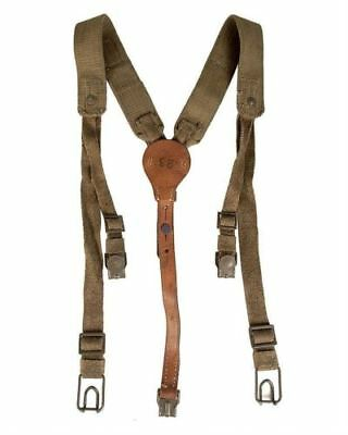 Original Czech Army Y-Strap canvas & leather suspenders harness shoulder