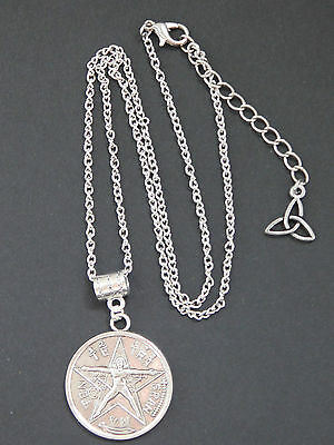 Silver Tetragrammaton Pentagram 2 sides Pendant Necklace Pagan Wicca Goth