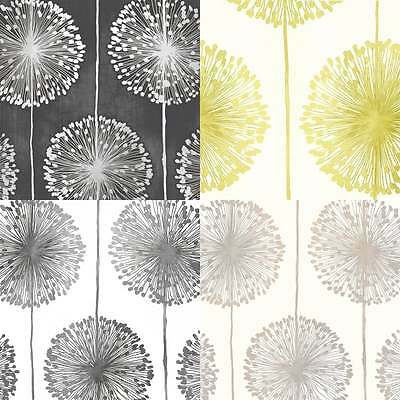 Muriva Dandelion Floral Wallpaper Black / Grey / Cream / Gold / Lime / Green