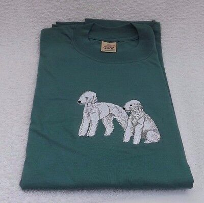 Bedlington Terrier Dogs Embroidered T-Shirt - New. Large.