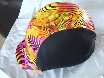 Ecotak lycra helmet cover - black colourful pattern Ecotak