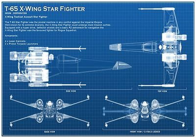 Star Wars T-65 X-Wing Star Fighter Blueprint Movie Prop Poster - FREE UK POSTAGE