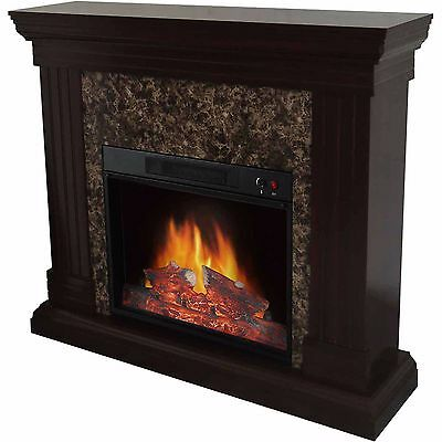Electric Fireplace with Mantel Fake Fire Programmable Adjustable Thermostat 120V