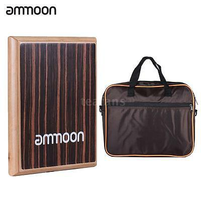 ammoon Compact Travel Box Drum Cajon Flat Hand Drum with Carrying Bag D8Y2