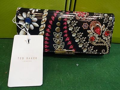 New With Tags Ted Baker Black Kaleigh Treasured Trinkets  Large Matinee Purse