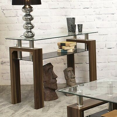 Console Table Furniture Living Room Hallway Side Modern Wooden Glass Top Shelf