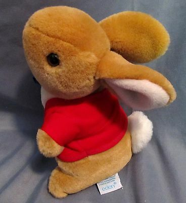 "Eden Peter Rabbit 8"" Plush Red Jacket Euc"