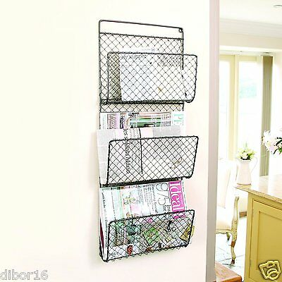 Three Compartment Wall Mounted Magazine Rack Organiser by Dibor
