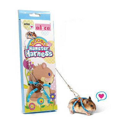 New Pet Mouse Rat Harness Adjustable Hamster Ferret Squirrel Lead Leash Blue