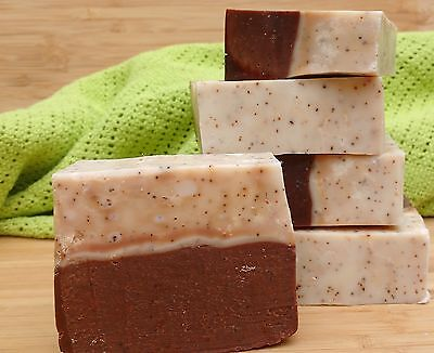 Natural handmade exfoliating soap: coffee grains, organic shea and cocoa butter