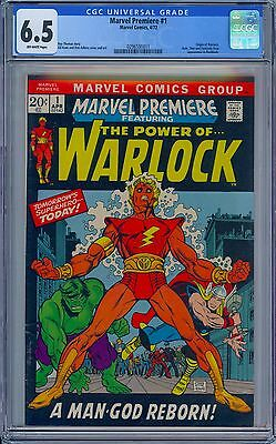 MARVEL PREMIERE #1 - CGC 6.5 OW Pages FN+ Origin of Warlock