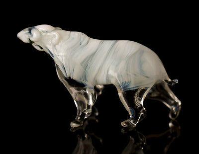 Polar Bear Figurine, Blown Glass Handcrafted Russian Art Animal Miniature