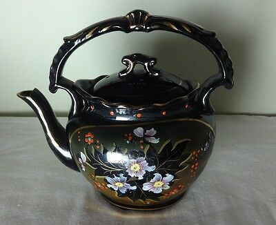 Antique Victorian hand painted black, green gold floral tea pot.1 pint