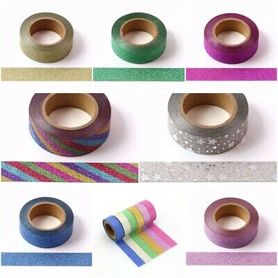 Glitter Washi Tape,Quality Masking Tape 10 Metre Rolls x 15mm UK P&P Included