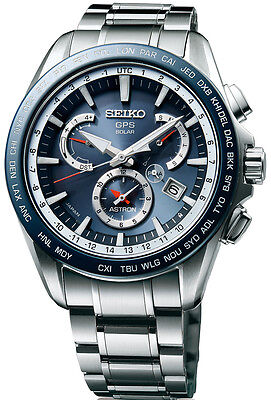 New Seiko Astron Solar GPS Dual-Time Stainless Steel Men's Watch SSE053