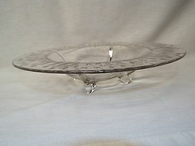 Atq 3 Footed Crystal Compote Decorative Dish Centerpiece Bowl Etched Cattails