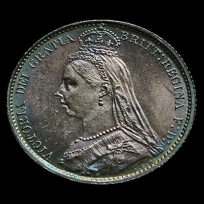1887 Victoria Jubilee Head Silver Sixpence, Withdrawn Type, Choice UNC