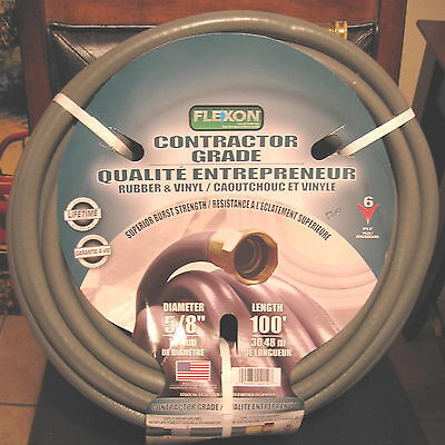 "Flexon Contractor Grade Rubber/Vinyl 100' 5/8"" 6 PLY Made in the USA NEW"