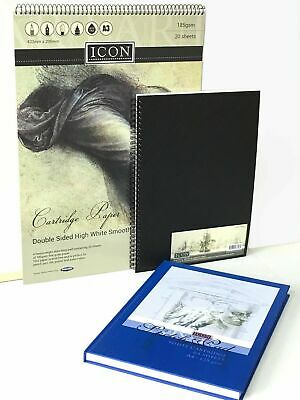 A3 A4 A5 Sketch Book Pad White Cartridge Paper Black Hardback Spiral Bound New