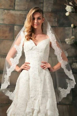 New 1 Layer White / Ivory Wedding Bridal Veil With Lace Applique Edge+comb