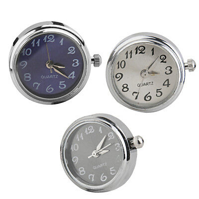 3Pcs Silver Watch Clock Dial Snap Charms Bead Button DIY Ginger Jewelry