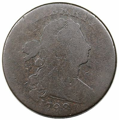 1798 Draped Bust Large Cent, Style 2 Hair, S-172, G detail