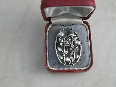 GORGEOUS Marked Sterling Silver & Mother Of Pearl Roses Brooch Pin 4.5gr