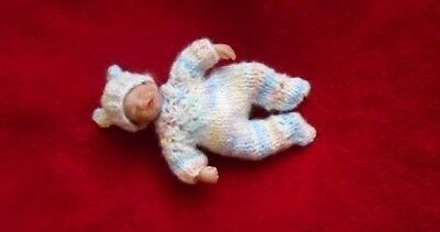 """Doll Clothes footed suit for ooak hand sculpted baby 4"""" 5"""" fits Heavenly Handful"""