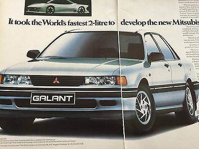 "MITSUBISHI GALANT 2000 GLSi COUPE # ORIGINAL 1988 AUTOMOTIVE ADVERT # 12"" x 16"""
