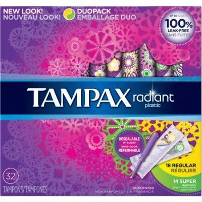 Tampax Radiant Plastic Duo Pack Tampons, 32ct 073010015371A650