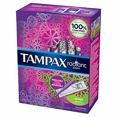 Tampax Radiant Plastic Tampons, Super, 16ct 073010015357A384