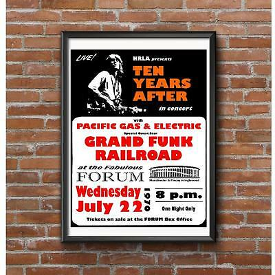 Ten Years After Concert 1970 Poster -Grand Funk Railroad Forum Inglewood