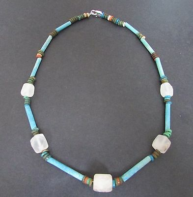 NILE  Ancient Egyptian Rock Crystal Amulet Mummy Bead Necklace ca 1200 BC