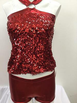 Dance Costume Large Child Red Sequin 2pc Jazz Solo Competition Pageant Glitz