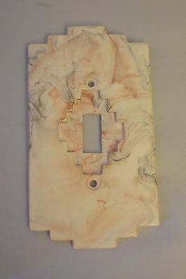 Vtg Art Deco Cultured Marble Southwestern Style Light Switch plate, single