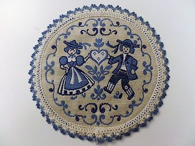 Vintage Blue Tapestry Embroidered Center Doily