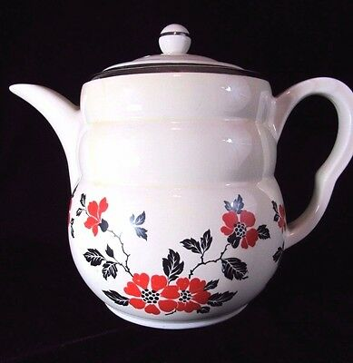 Vintage Hall Black & Red Poppy Coffee Pot Superior China Made in USA