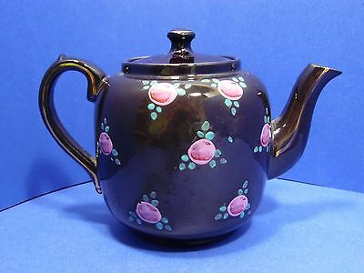 Vintage English Tea Pot Made in England Brown Glaze Floral 4170L 30 Ounce