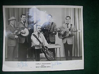 """Curly Herdman And West Virginia Boys Signed 8"""" X 10"""" Promotion  Photo Music"""