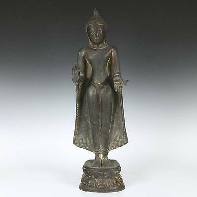 Antique Standing Buddha Abhaya No Fear Mudra Copper Sculpture Burma 19Th C.