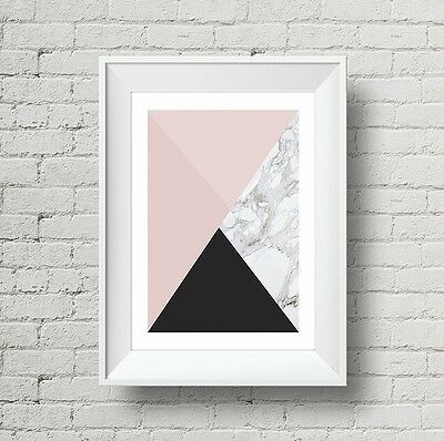 Modern Wall Art, Marble, Pink and Black Print, Home Decor