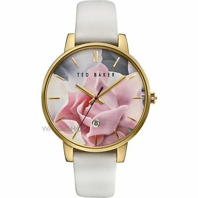 Ted Baker Ladies' Rose Pattern Dial White Strap Watch Rrp-£135