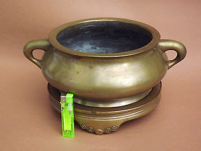 Extra Large Chinese Bronze Xuande Incense Burner With Original Stand 6.9 Kg